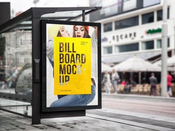 1 Bus Stop Billboard Mockup