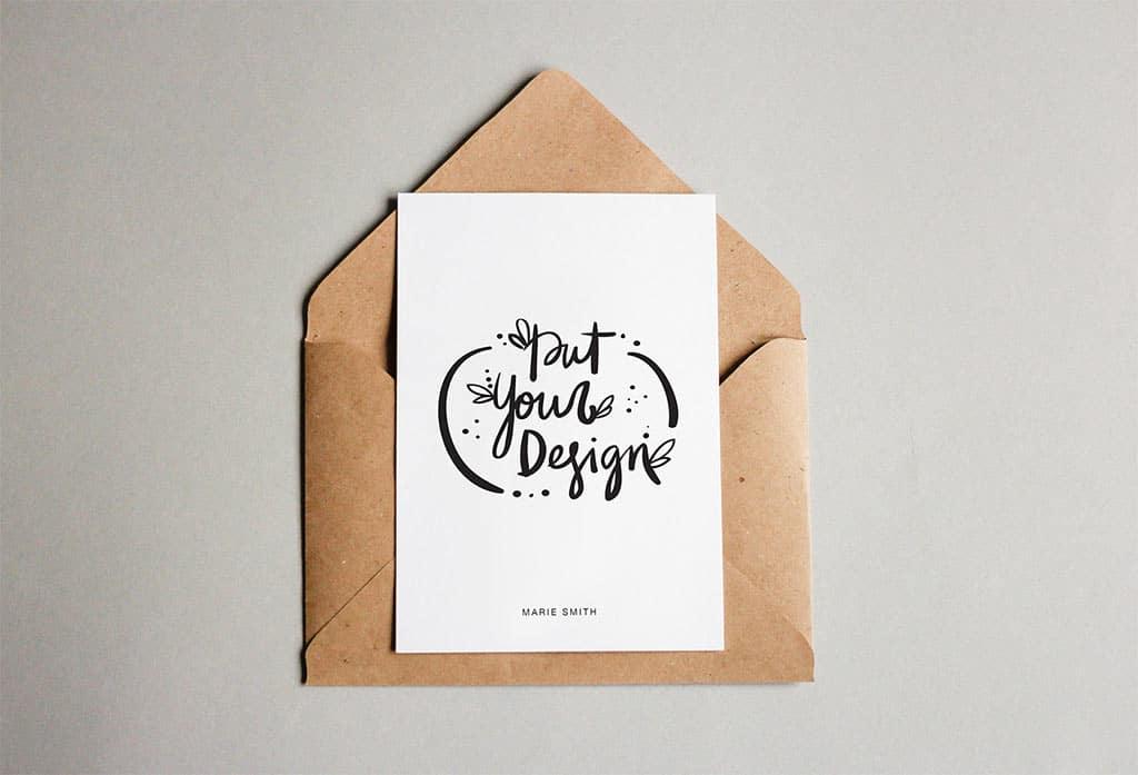 19 Free Postcard with Envelope Mockups
