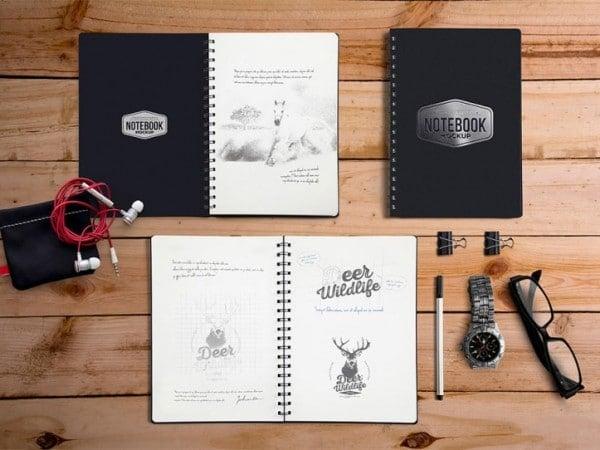 34 Notebook Stationary Mockup