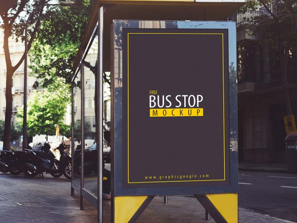 8 Bus Stop Advertising Mockup