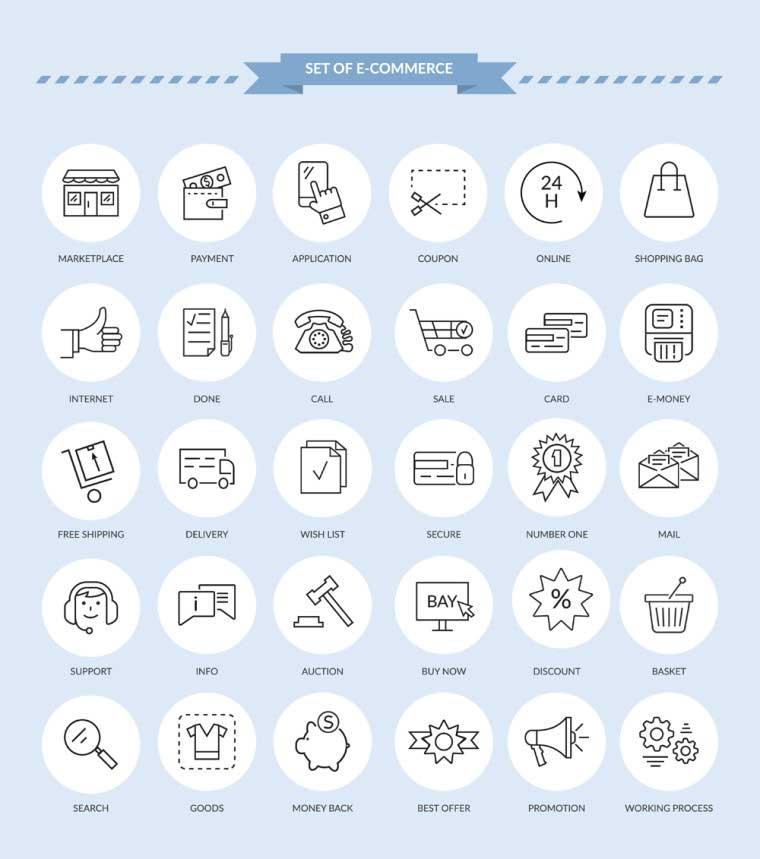20 E commerce Icons Set