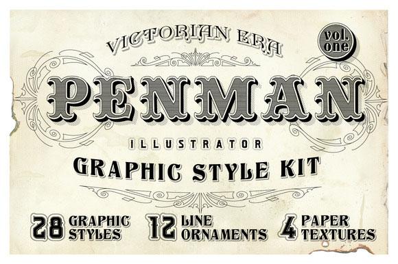15 Penman Vintage Graphic Style Kit