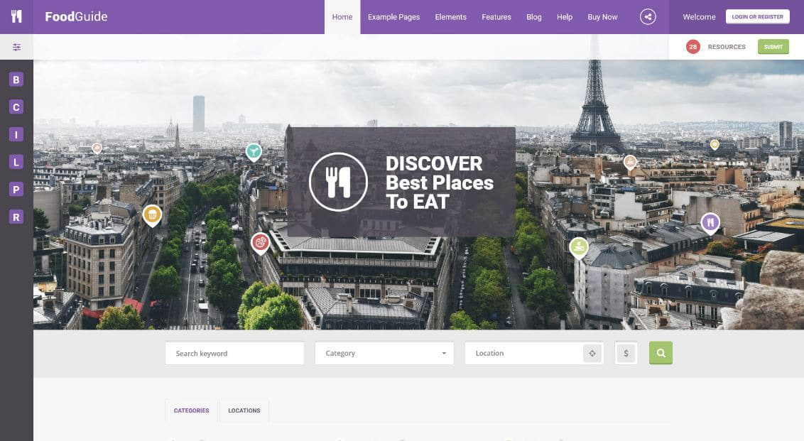 food guide Website Templates for Entrepreneurs
