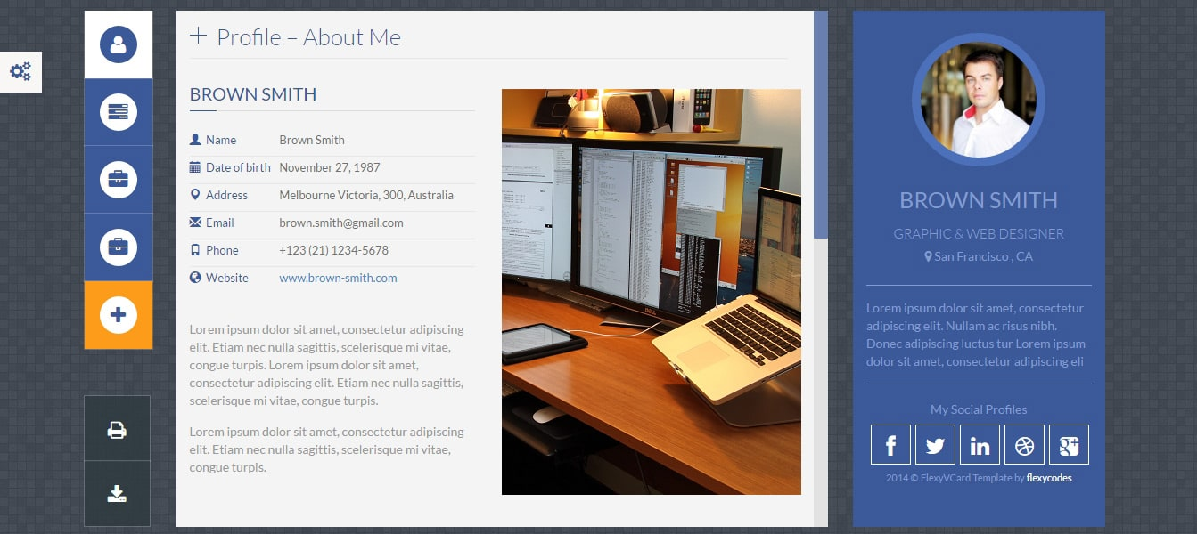 FlexyVcard Responsive vCard WordPress Theme Preview