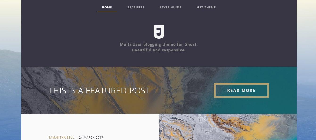 Hoshi Responsive Masonry Ghost Blog Theme