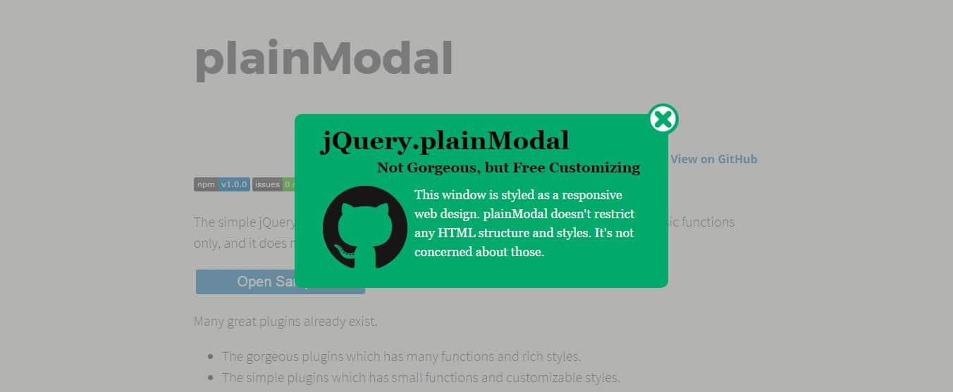 plainModal jQuery Modal Dialogs