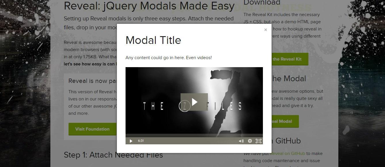 Reveal jQuery Modal Plugin