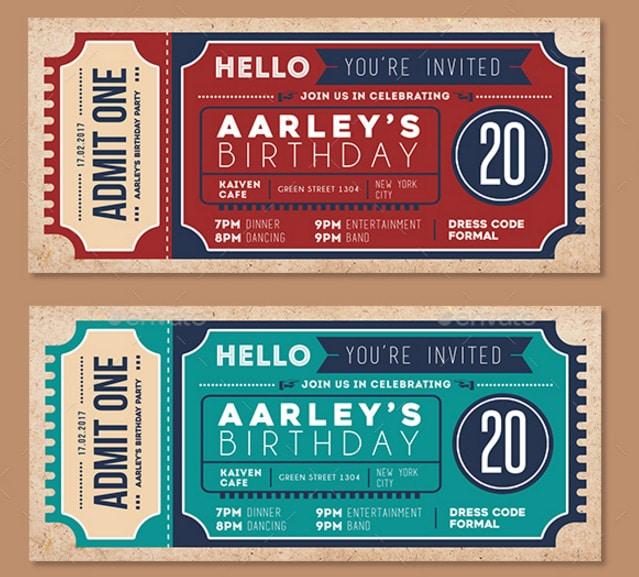 Invitation Ticket ticket design