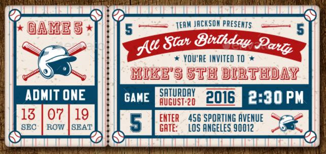 Baseball Ticket Party Invites ticket design