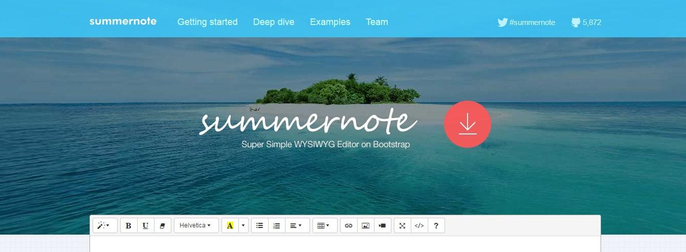 Summernote Super Simple Bootstrap Editors