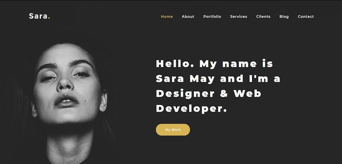 Sara - Modern Personal Portfolio Website Template