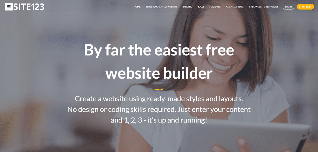 Free website builder for beginners - Site123
