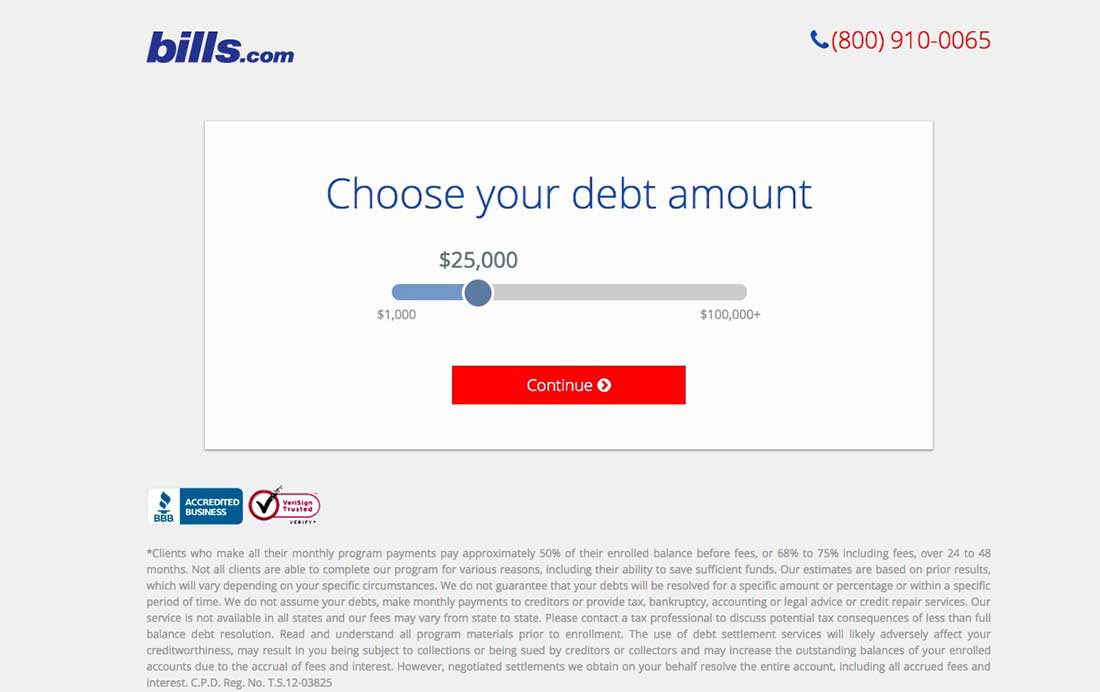 23 Bills.com Landing Page