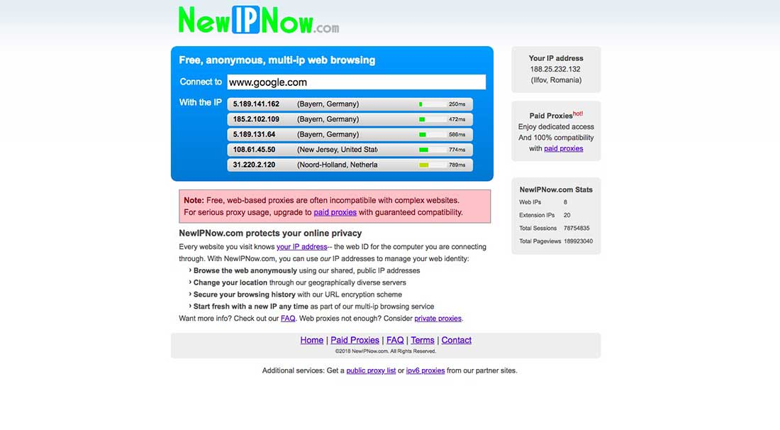 7 New IP Now Free Web Proxy Server