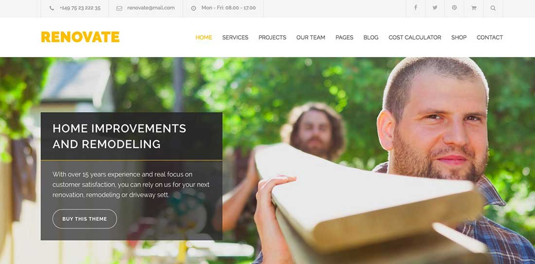 16 Renovate - Construction Renovation WordPress Theme