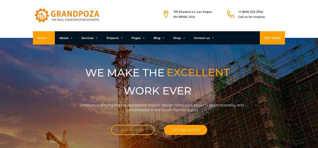 19 Grandpoza - Construction WordPress Theme