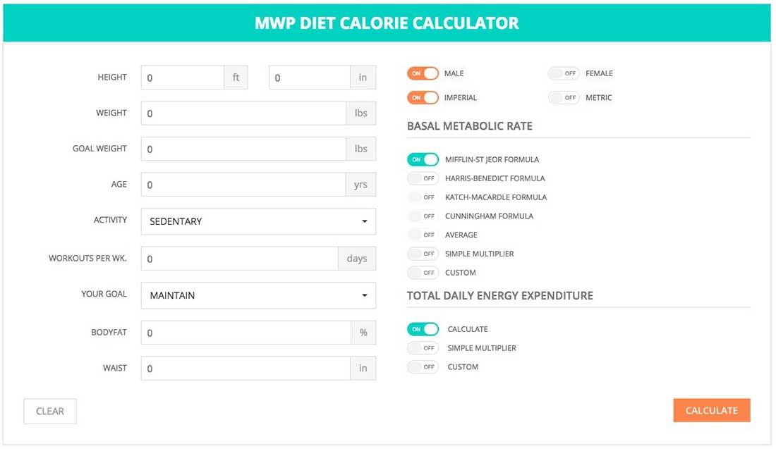 3 MWP Diet Calories Calculator