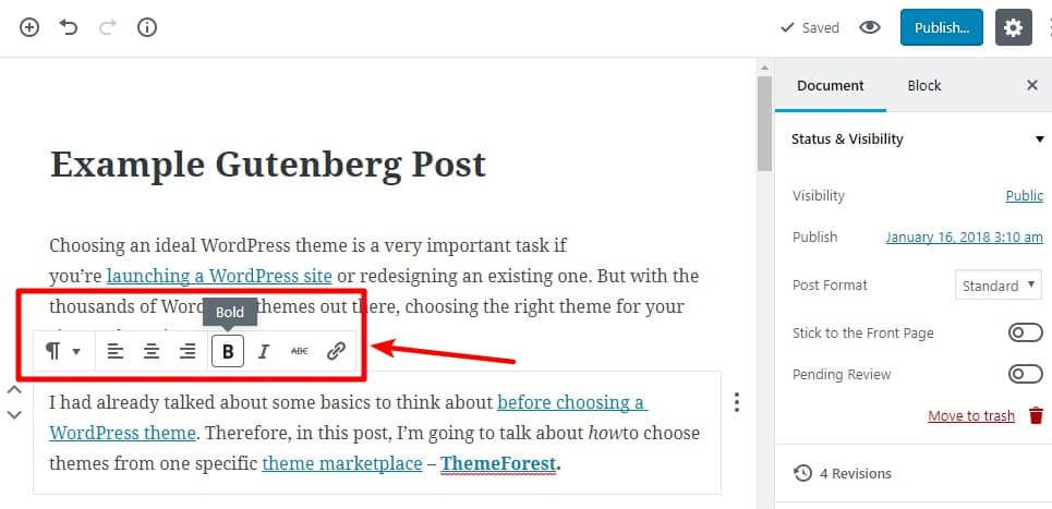 Gutenberg Editor in action