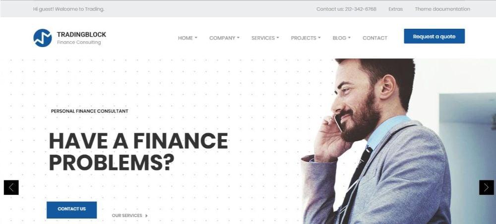 Finance Business Responsive Drupal 8.7 Theme   Tradingblock